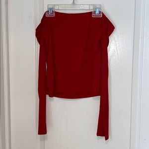 Cropped off the shoulder red ribbed top